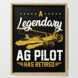 Retro Vintage Crop Duster AG Pilot Has Retired Plane Serving Tray