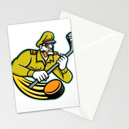 Army General Ice Hockey Sports Mascot Stationery Cards
