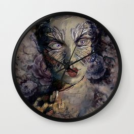 A WOMAN'S FACE WEARS MANY MASKS Wall Clock