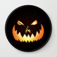 halloween Wall Clocks featuring Halloween by Nicklas Gustafsson