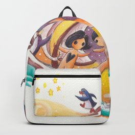 Boy and Girl in Love Sail Off Into the Sky on Adventure Backpack