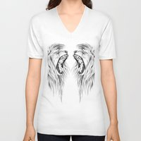 lions V-neck T-shirts featuring Lions by Libby Watkins Illustration