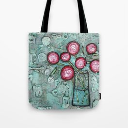 """""""Pink Flowers in a Vase"""" Mixed Media Tote Bag"""
