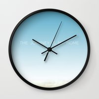 journey Wall Clocks featuring Journey by Galaxy Eyes