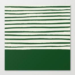 Holiday x Green Stripes Canvas Print