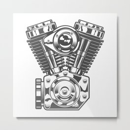 Vintage motorcycle engine in design fashion modern monochrome style illustration Metal Print