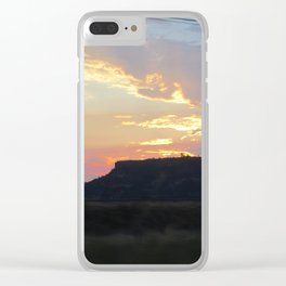 Sunset behind Table Rock in Oregon Clear iPhone Case