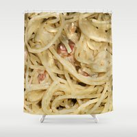 pasta Shower Curtains featuring Carbonara Pasta by Anand Brai