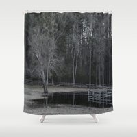 farm Shower Curtains featuring Fish Farm by Deb MacNeil