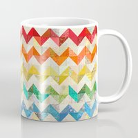 quilt Mugs featuring Chevron Rainbow Quilt by Rachel Caldwell