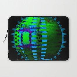 Green Layered Star in Aqua Flames Laptop Sleeve