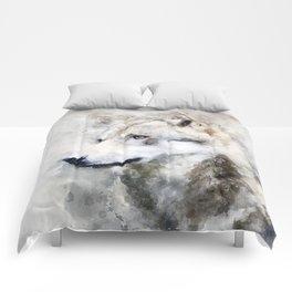 Watercolour grey wolf portrait Comforters