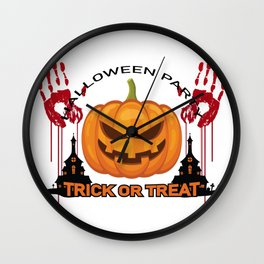 Trick Or Treat, Halloween Party Wall Clock