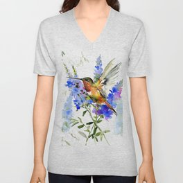 Alen's Hummingbird and Blue Flowers, floral bird design birds, watercolor floral bird art Unisex V-Neck