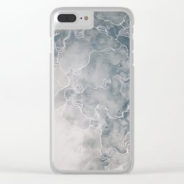 The Awakening (Acrylic Abstract Painting, Grey & White) Clear iPhone Case