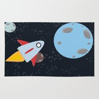 rocket Area & Throw Rugs featuring rocket by Annretro