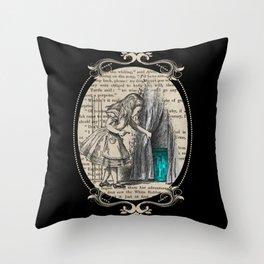 Follow The White Rabbit - Vintage Book Throw Pillow