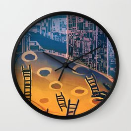 Time through Time, from Caves to Skyscraper, from Organic to Geometric Wall Clock