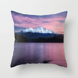Sublime a sunrise at Lake Siskiyou with Mt. Shasta Throw Pillow