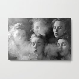 Members of the Young Women's Republican Club of Milford, Connecticut smoking cigarettes, playing poker black and white photograph Metal Print