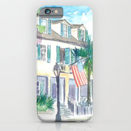 Key West Conch Dream House - Sunset And Flag iPhone Case