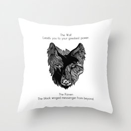 The Wolf and The Raven Throw Pillow