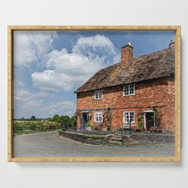 Old Cottages In Tewkesbury Serving Tray