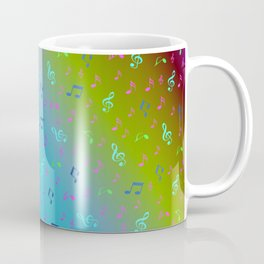 colorful blue music notes abstract, art, artistic, background, bass, beautiful, classical, clef, cre Coffee Mug