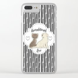 Unconditional Love Cat and Dog as Family Members Stripes Clear iPhone Case