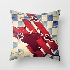 Fokker triplane (Red Baron) Pop Art Throw Pillow
