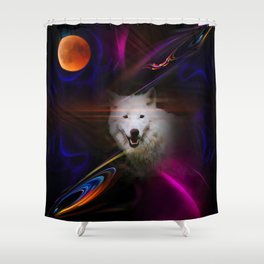 Full moon - Blood moon  fascination wolf Shower Curtain
