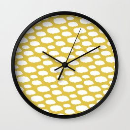 White Clouds on Mustard Yellow Wall Clock
