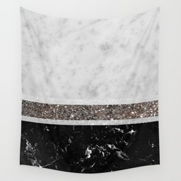 White and Black Marble Silver Glitter Stripe Glam #1 #minimal #decor #art #society6 Wall Tapestry