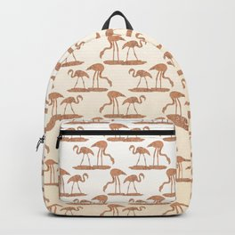Gold Leaf Flamingo Pattern Backpack
