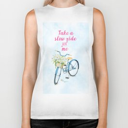 Take A Slow Ride With Me Bicycle With Flower Basket Biker Tank