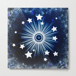 Starburst Blue White Stars Explosion Design Metal Print