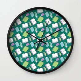 Doodle Books Pattern in Green, Blue and Purple Wall Clock
