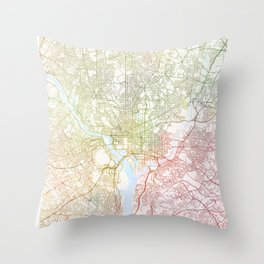 Washington DCmodern wall art Map Watercolor by Zouzounio Art Throw Pillow