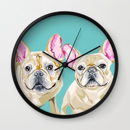 Marshal and Twiggy the French Bulldogs Wall Clock