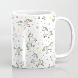 Unicorns and Stars - White and Rainbow scatter pattern Coffee Mug