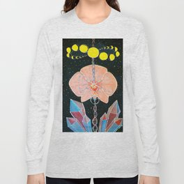 Moon Orchid Flower Space Tapestry Crystals Sacred Geometry Metatron's Cube Visionary Art Long Sleeve T-shirt
