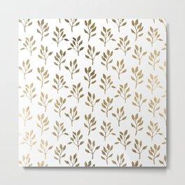 Stylish white faux gold modern elegant floral Metal Print