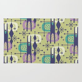 Retro Atomic Mid Century Pattern Blue Green Purple and Turquoise Rug