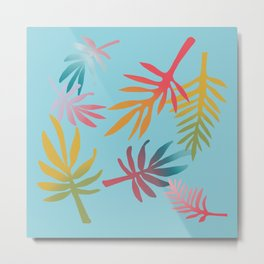 Rainbow Palms Aqua Metal Print