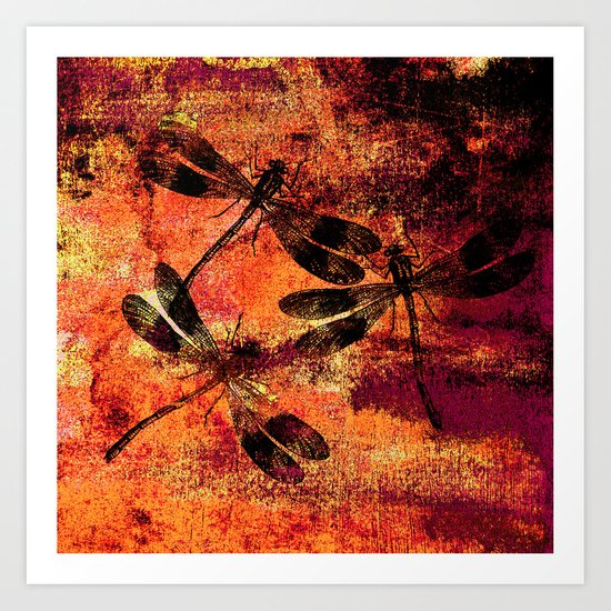 Black Dragonflies Art Print