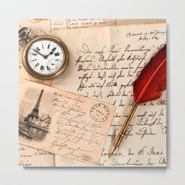 Vintage Old Paper Pen Watch Writing Stamp Postcard Metal Print