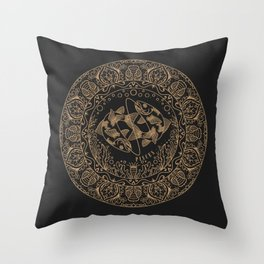 Pisces Zodiac Mandala - Gold on Charcoal Throw Pillow