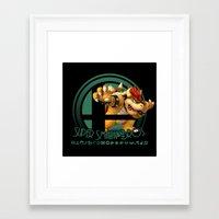 super smash bros Framed Art Prints featuring Bowser - Super Smash Bros. by Donkey Inferno