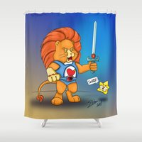 thundercats Shower Curtains featuring Braveheart Lion O by elletra