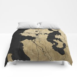 Seattle Black and Gold Street Map Comforters